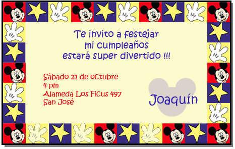 Tarjeta de invitación de Mickey Mouse | Web Del Bebé