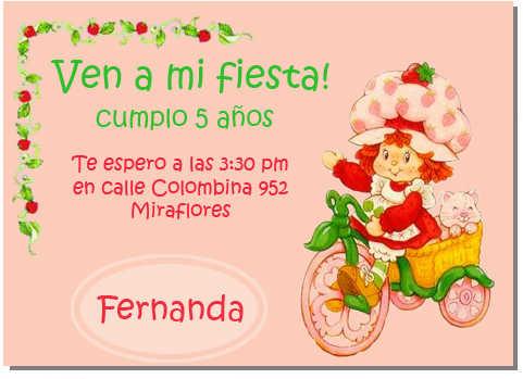 Tarjeta de invitación de Rosita Fresita | Web Del Bebé