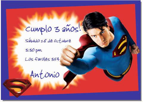 Tarjeta de invitación de Superman | Web Del Bebé